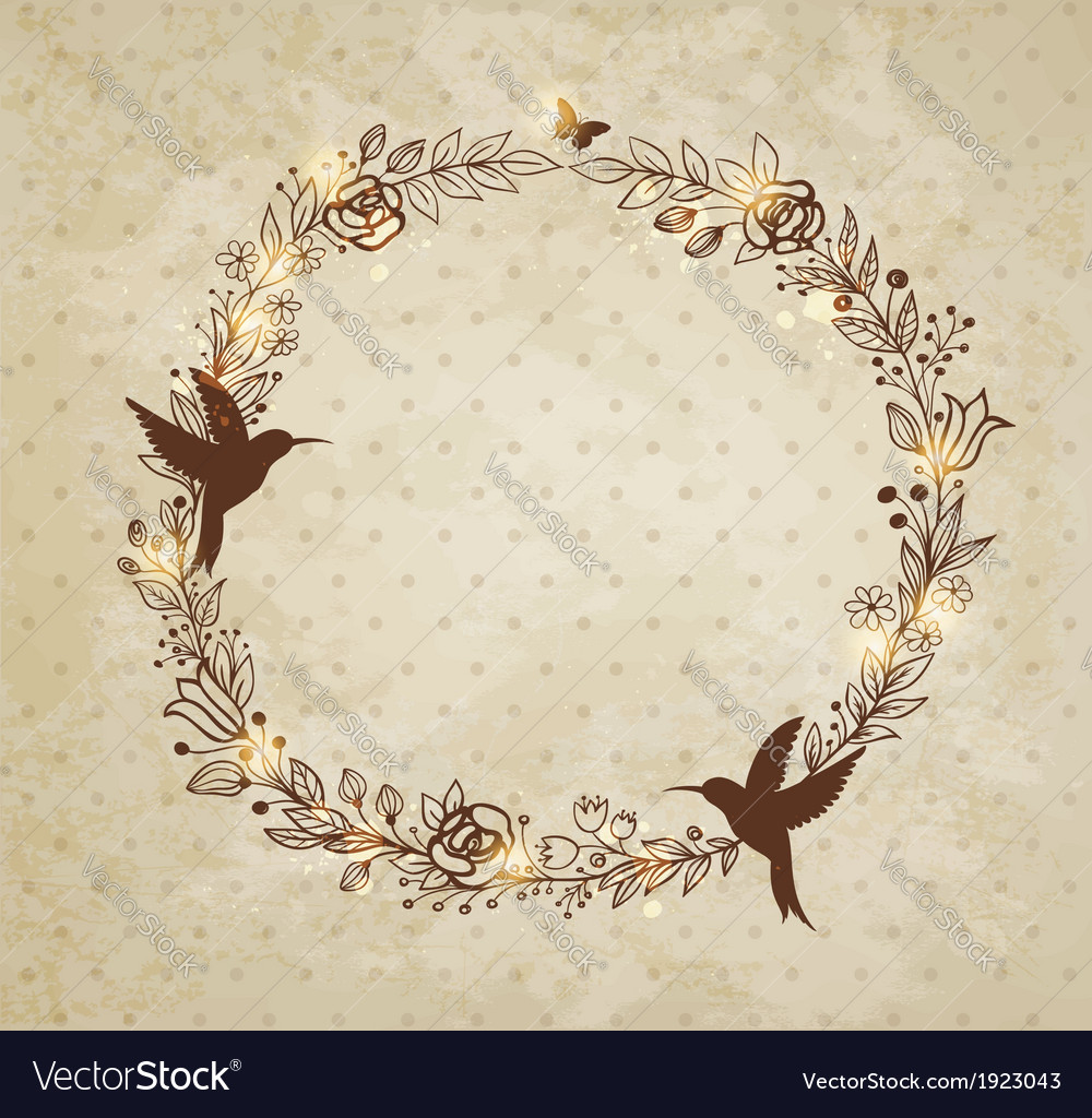 Vintage hand drawn wreath of flowers