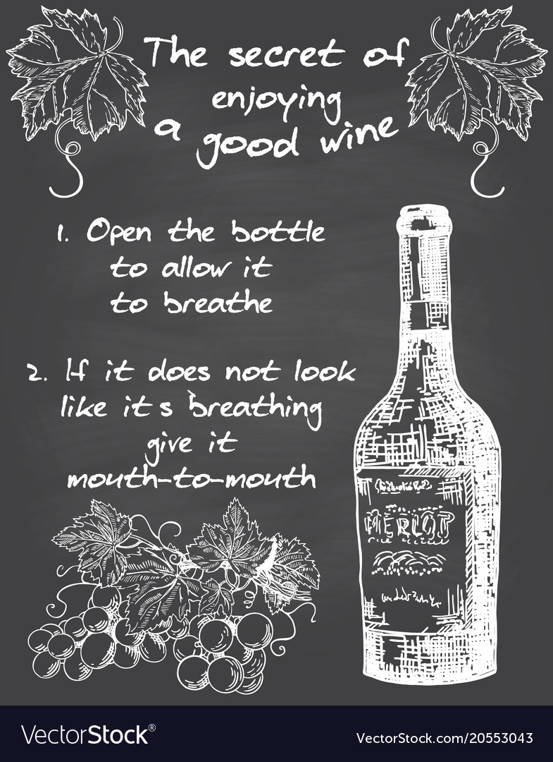 Vintage wine chalkboard typography poster