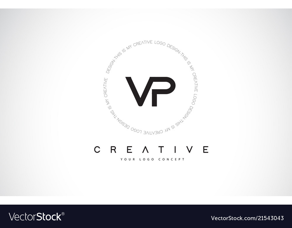 Vp v p logo design with black and white creative