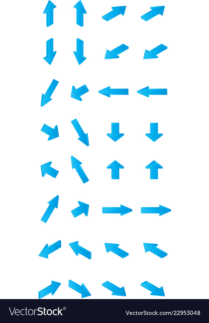 32 isometric blue arrows direction