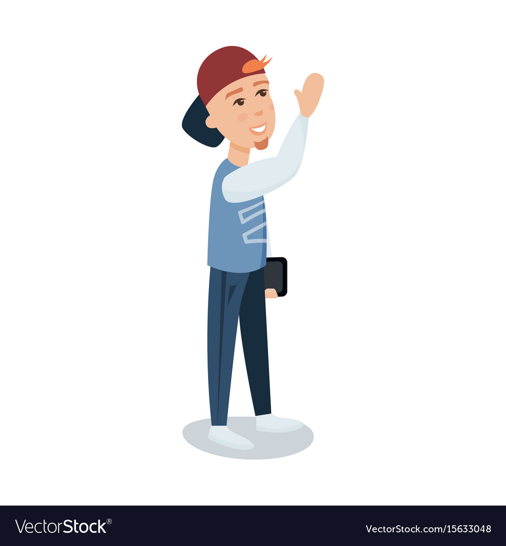 A young man in a cap standing with tablet cartoon vector image