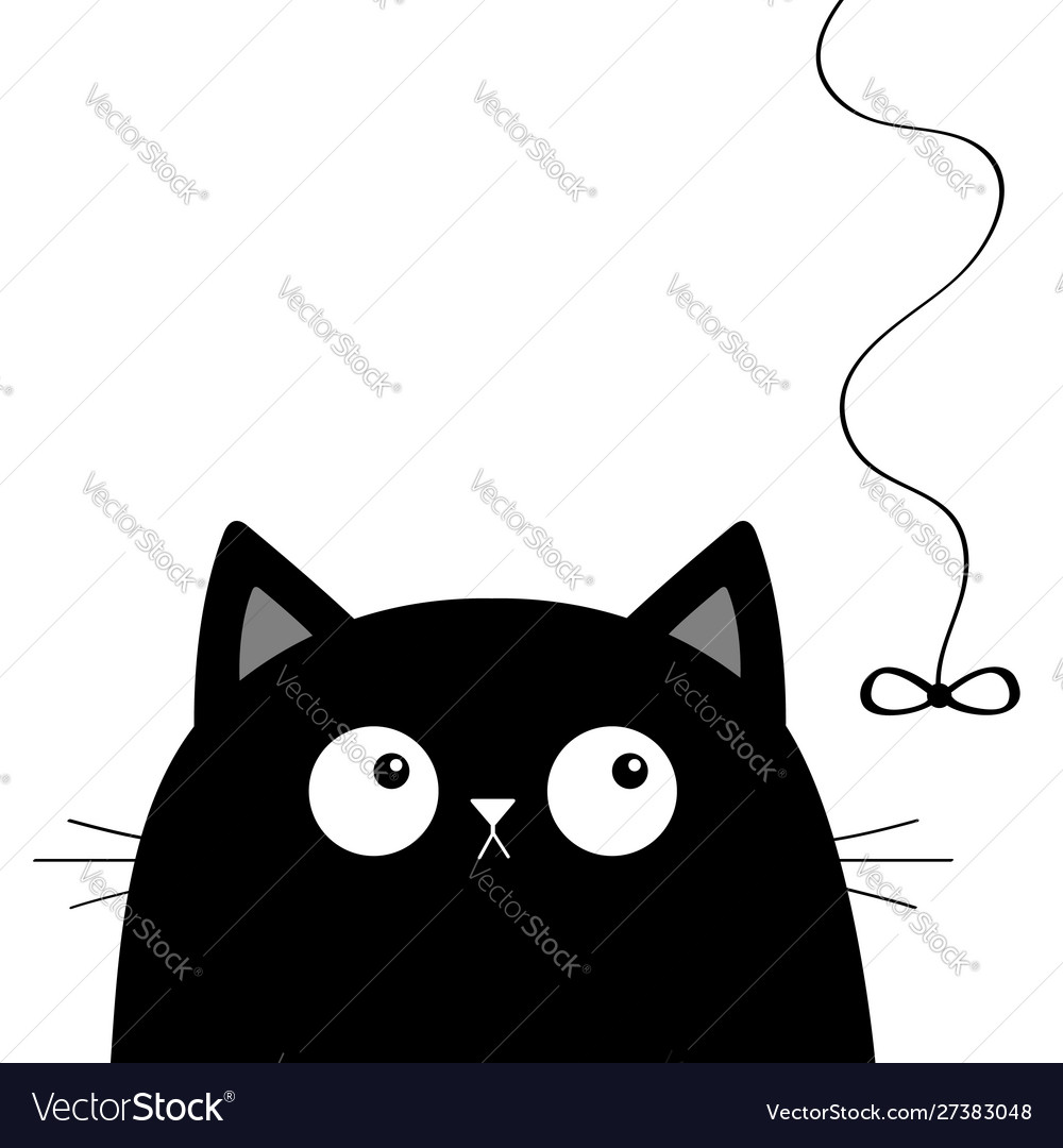 Black Cat Head Face Looking At Bow Hanging On Vector Image