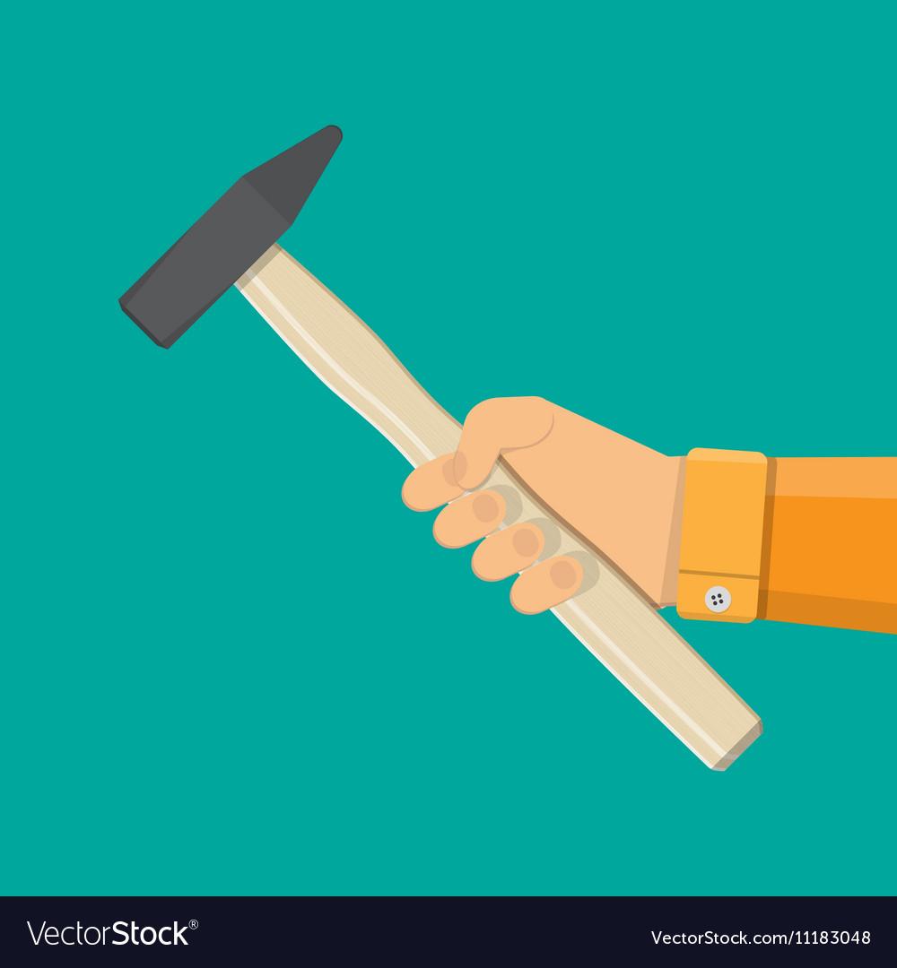 Carpenter hammer tool in hand vector image
