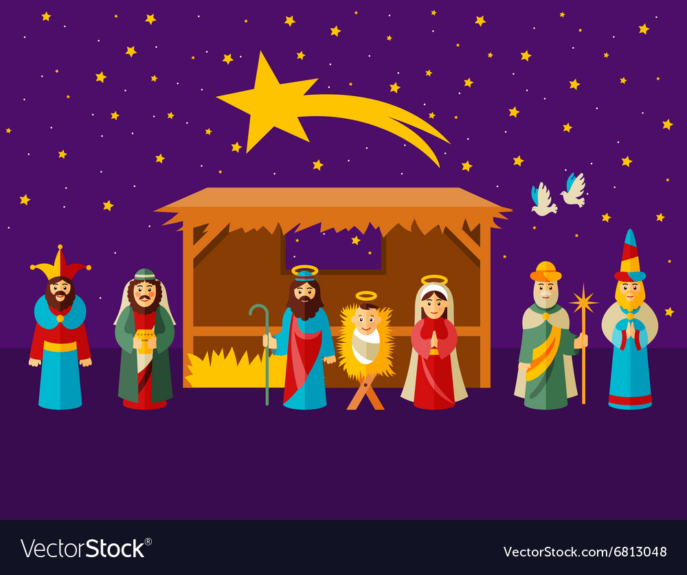 Christmas Nativity Scene.Christmas Nativity Scene With Holy Family