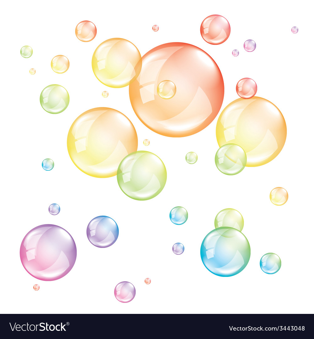 colored transparent bubbles isolated royalty free vector