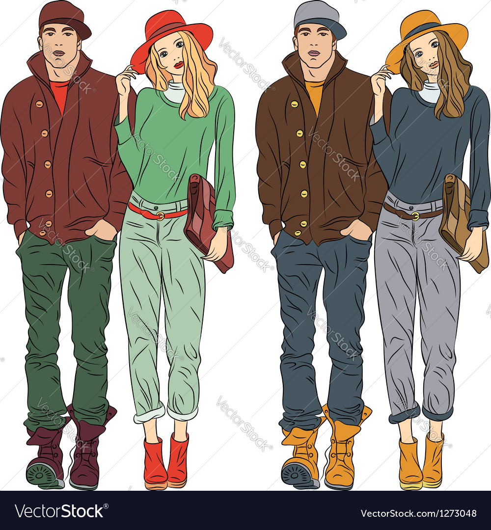Fashion stylish guy and girl in spring clothes