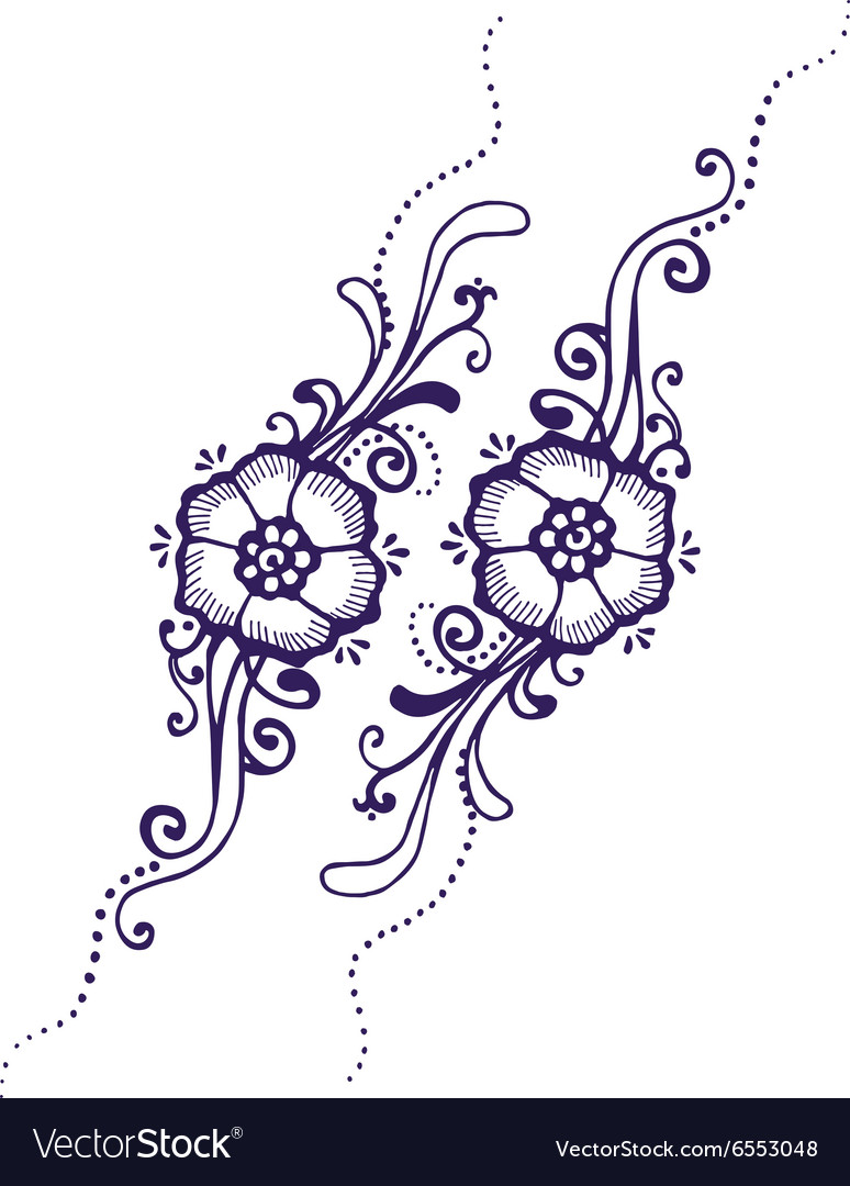 Floral Paisley Henna Royalty Free Vector Image