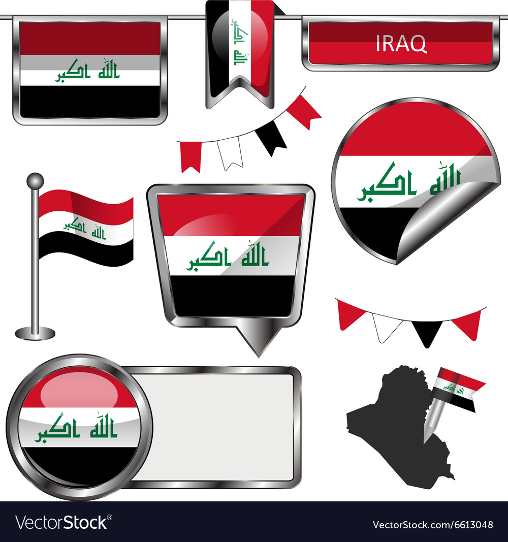 Glossy icons with Iraqi flag