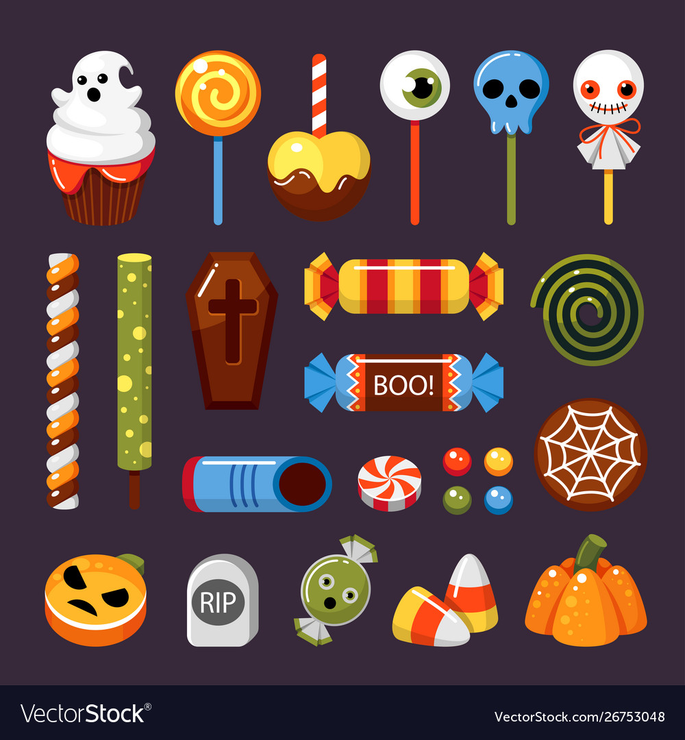 Halloween candies flat isolated
