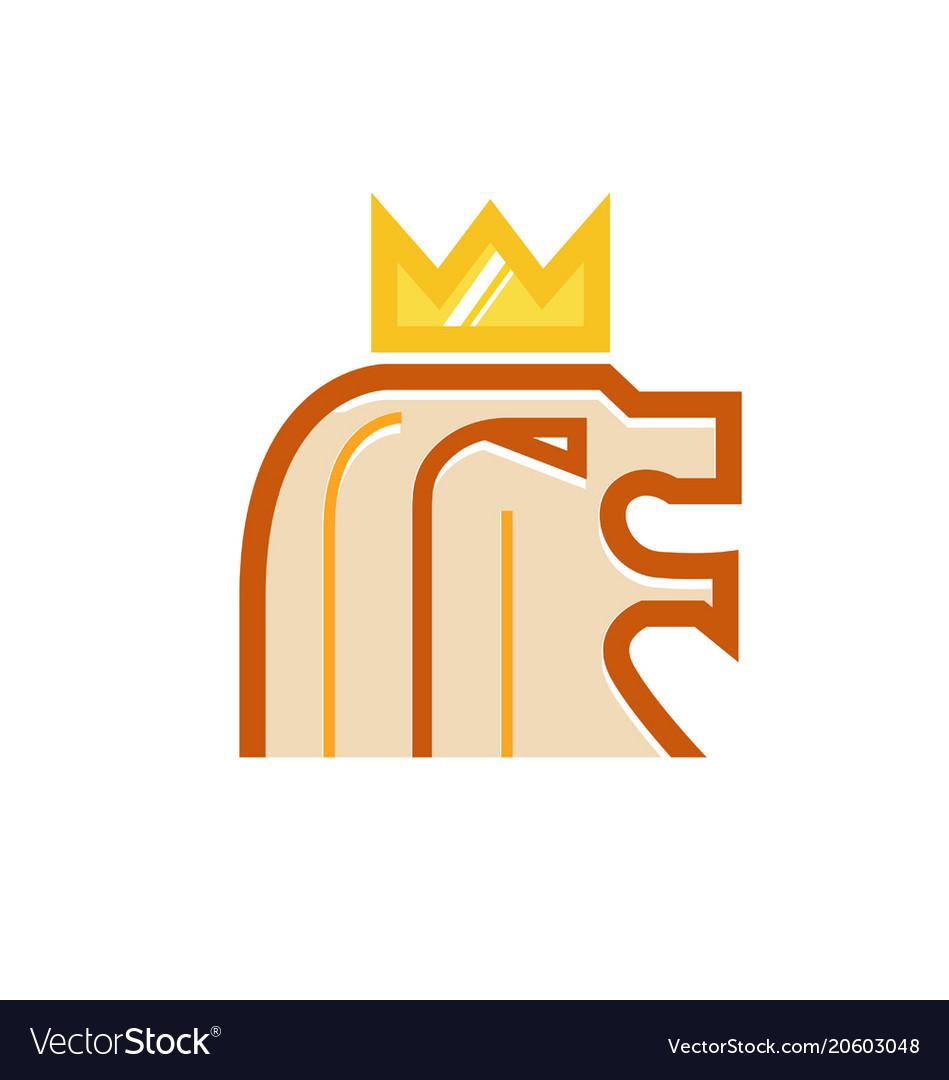 Lion Head Crown Logo Vector Image