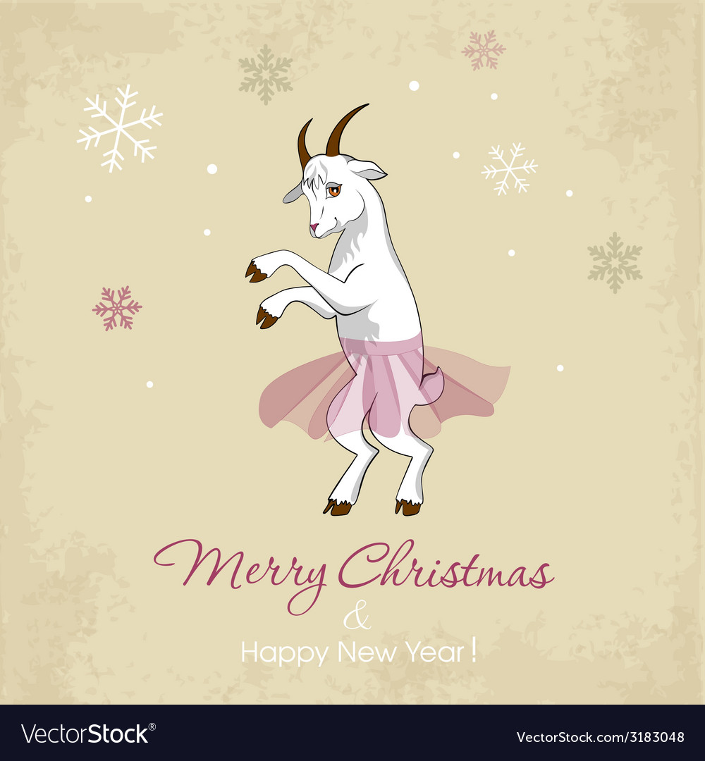 New Year Card With A Dancing White Goat Royalty Free Vector