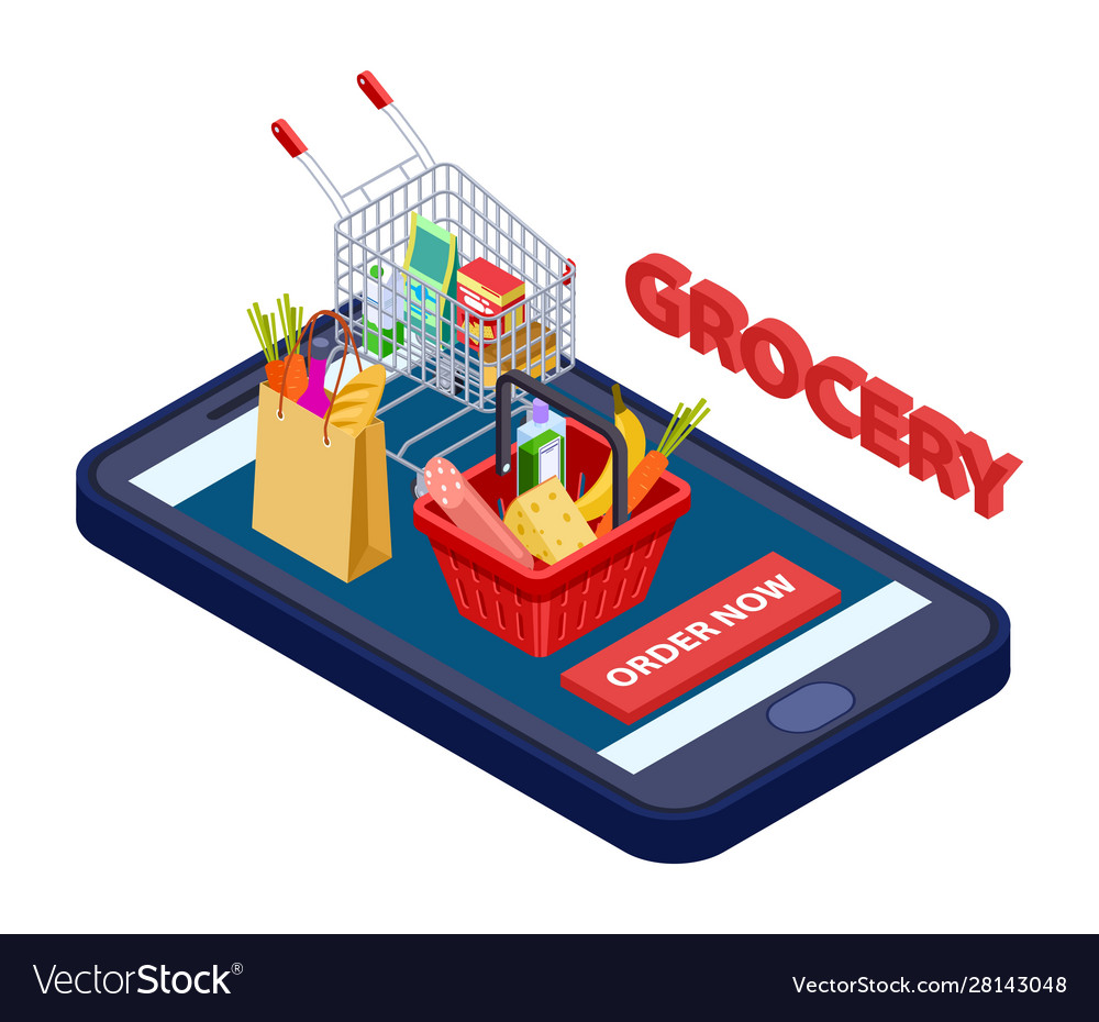 Online grocery concept mobile app