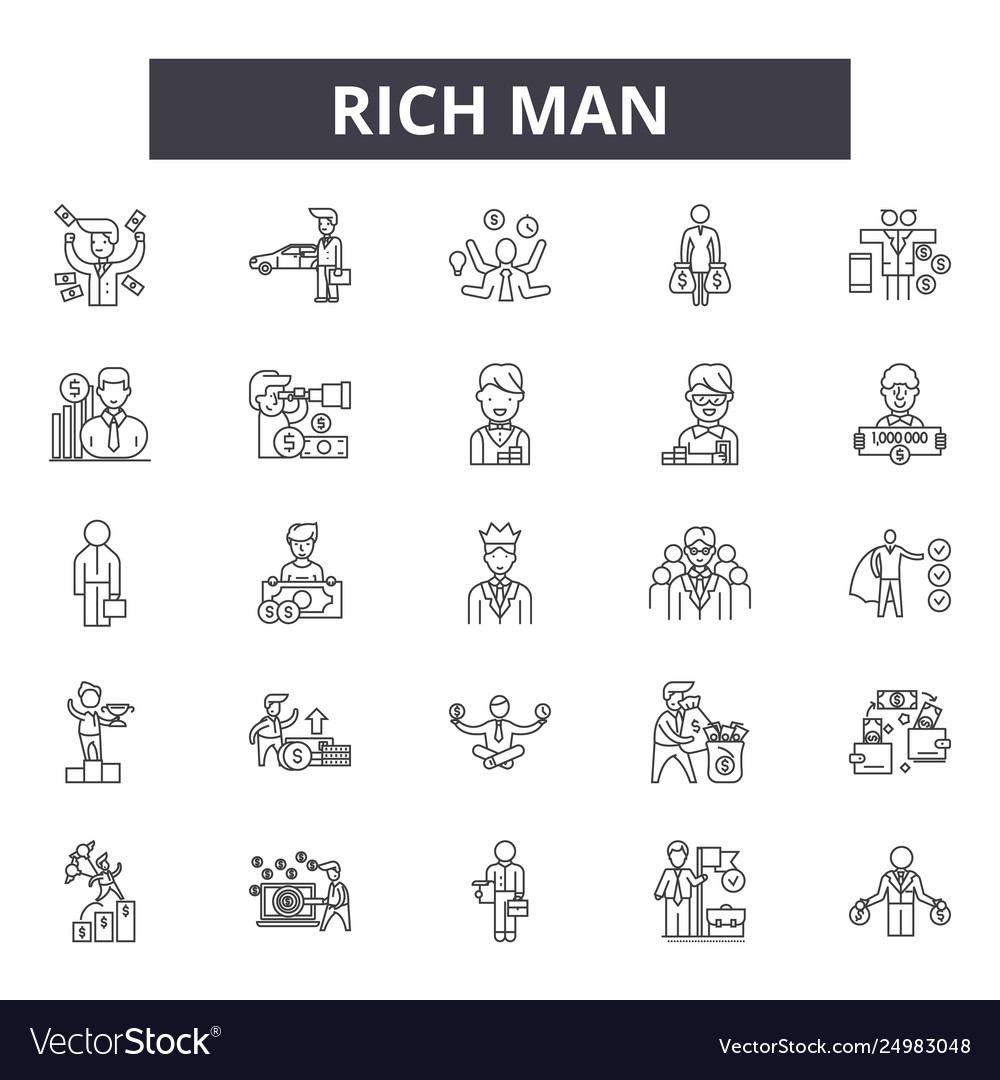 Rich man line icons signs set outline