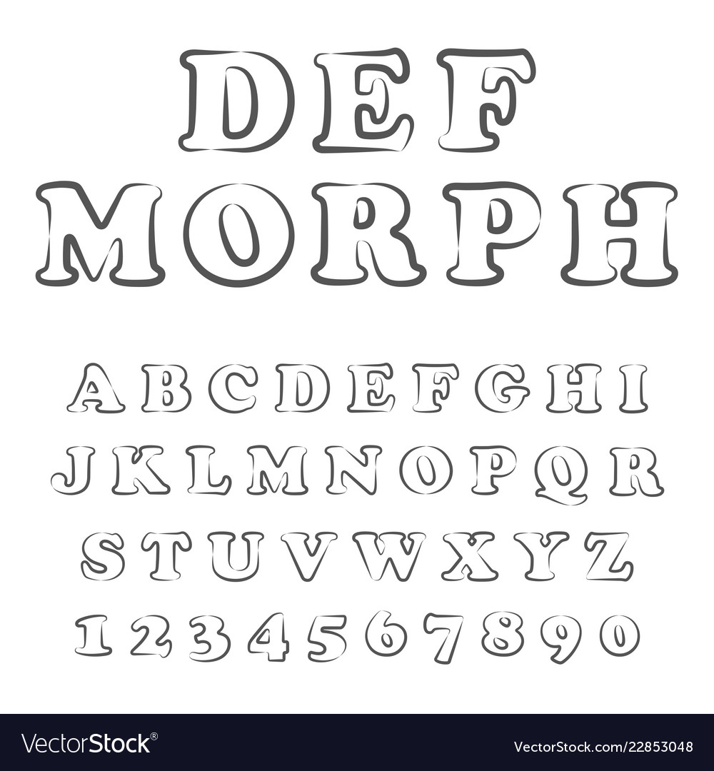 Stylized bold font and alphabet vector