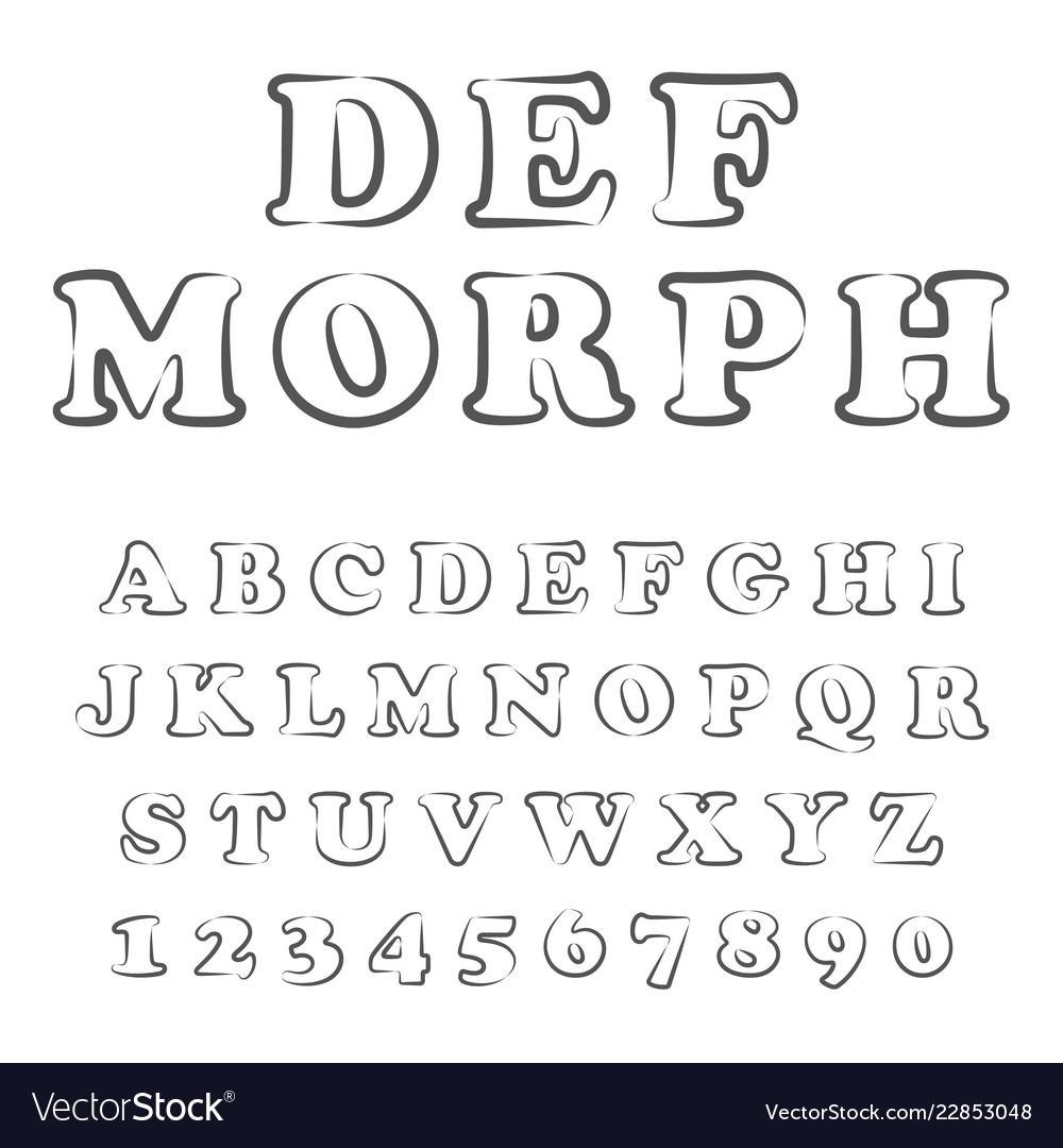 Stylized bold font and alphabet