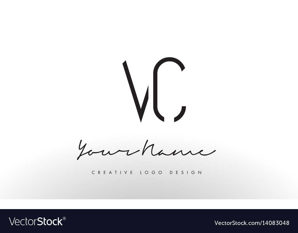 Vc Letters Logo Design Slim Creative Simple Black Vector Image
