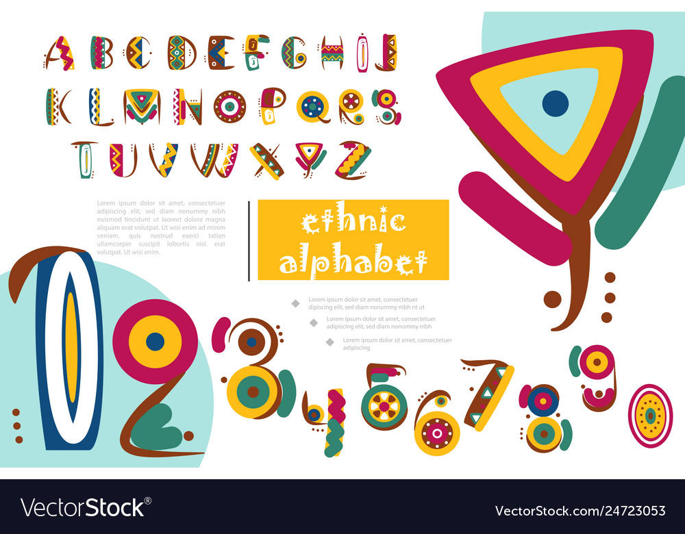 African or indian ethnic alphabet template