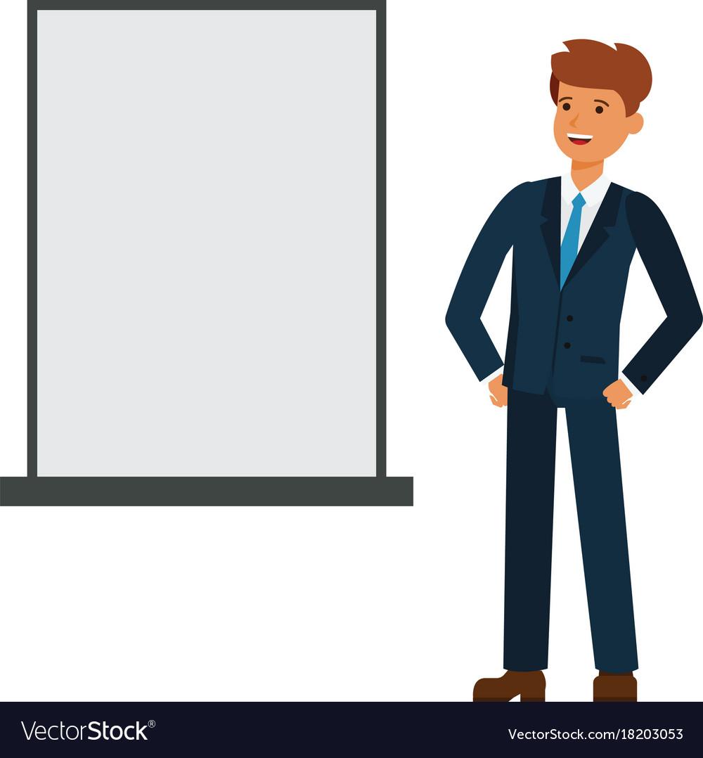 Businessman looking at blank board cartoon flat