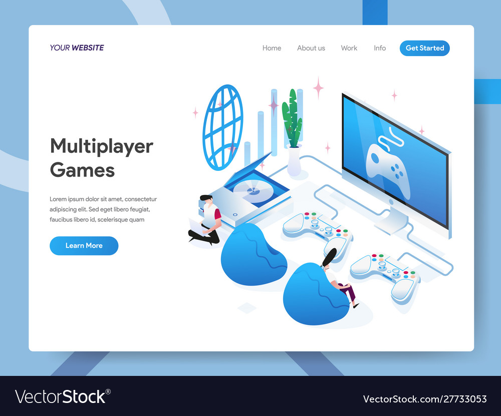 Landing page template multiplayer games