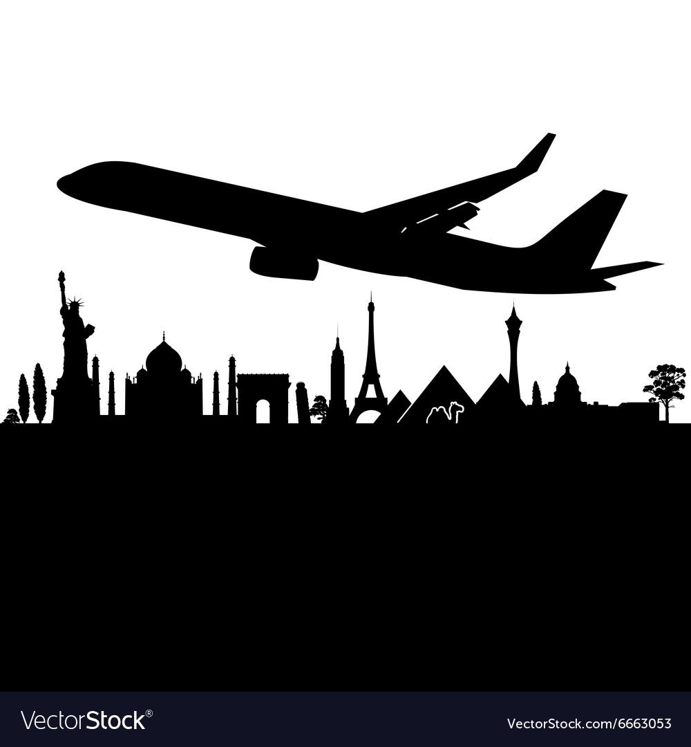 Plane above the city black