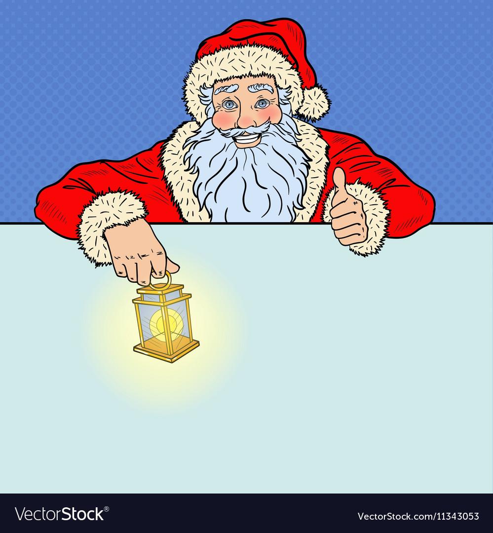 Pop Art Santa Claus with Advertising Empty Banner