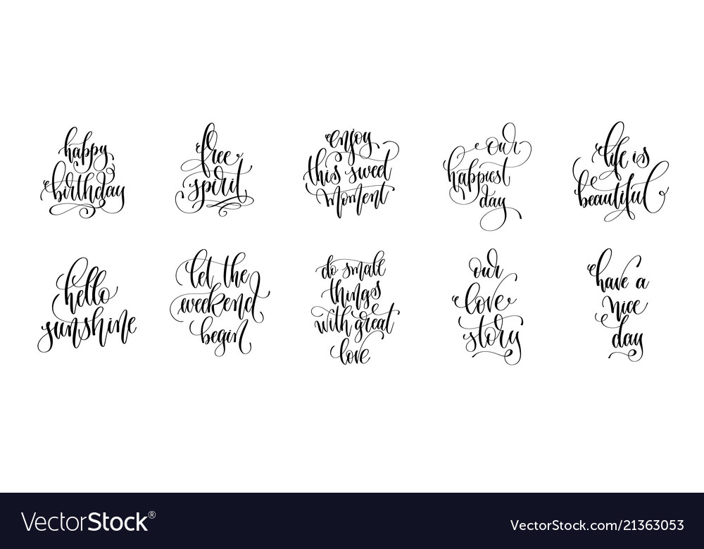 Set 10 hand lettering quotes design