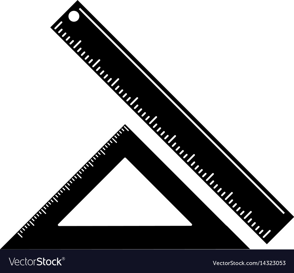 Triangle ruler measuring school pictogram vector image