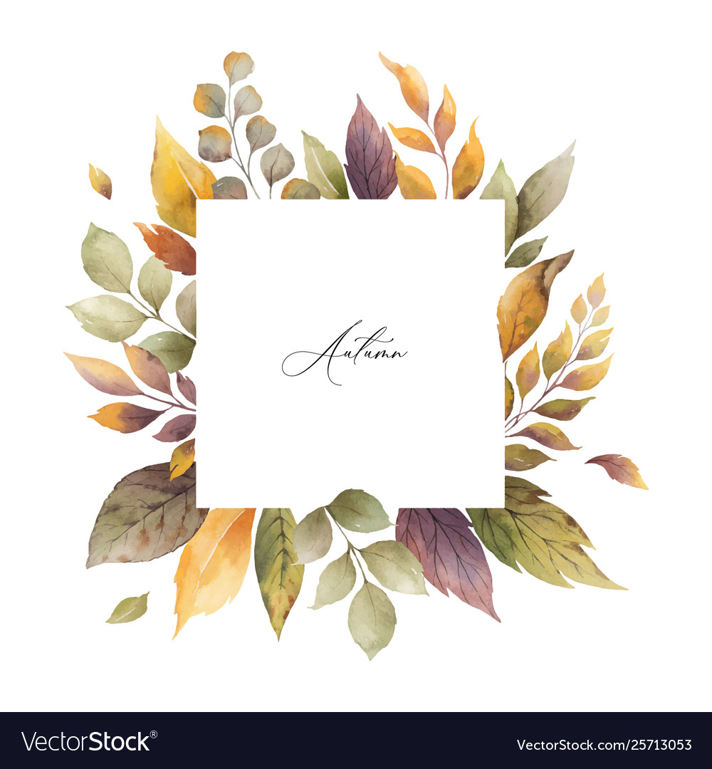 Watercolor autumn frame with roses and