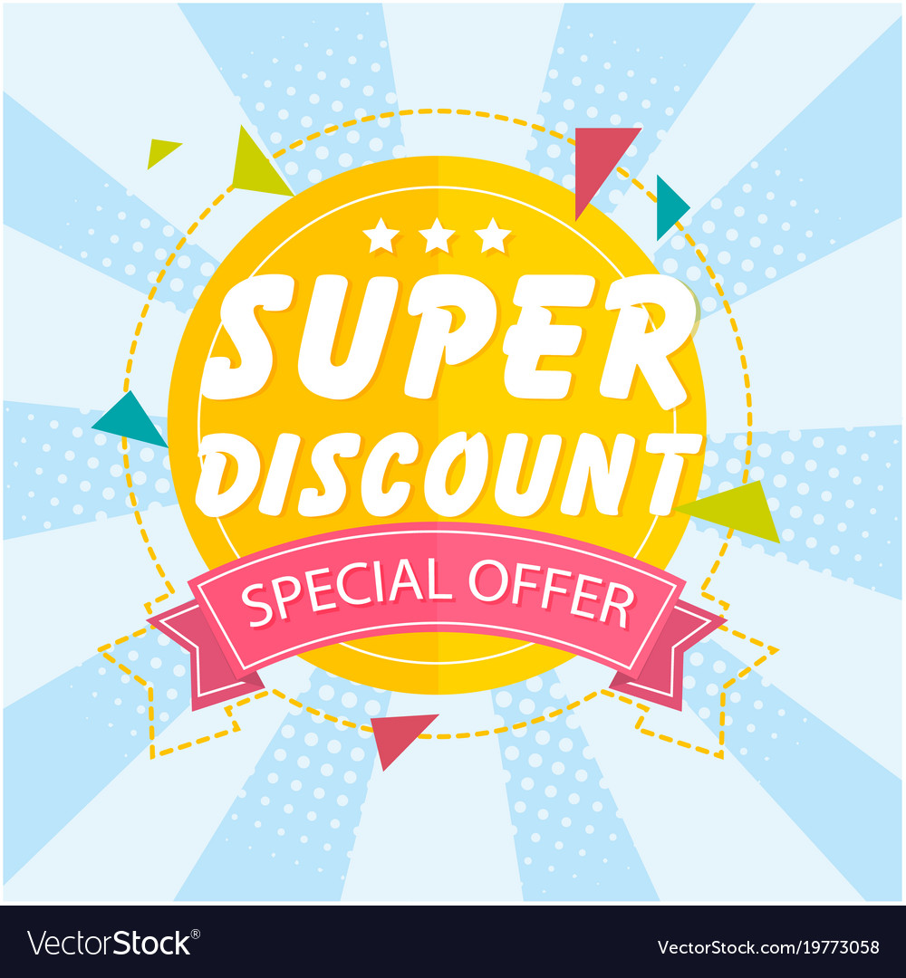 Banner Super Discount Special Offer Ribbon