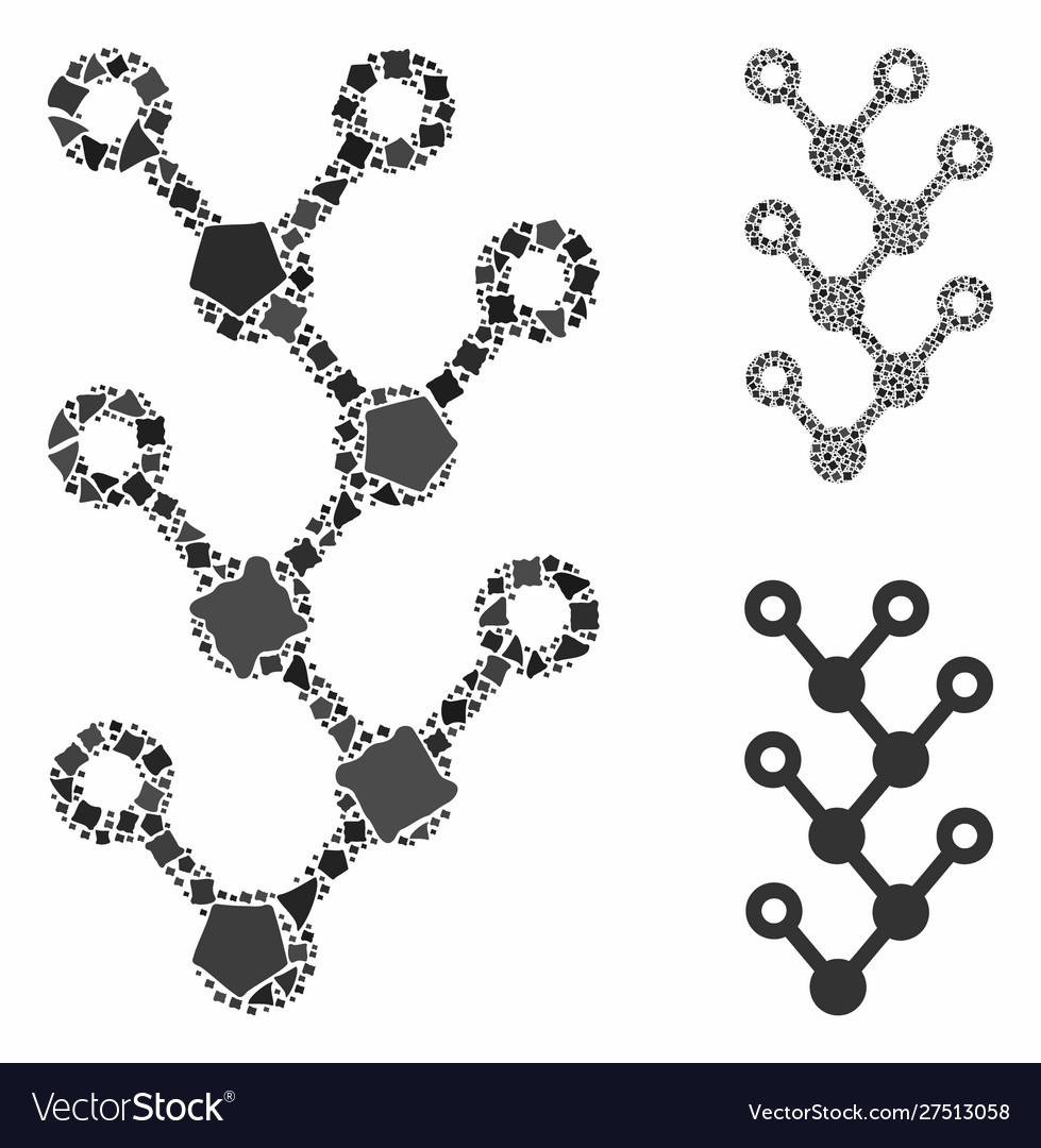 Binary tree mosaic icon ragged elements