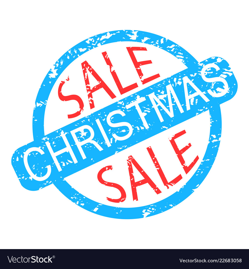 Christmas sale rubber stamp colored isolated on