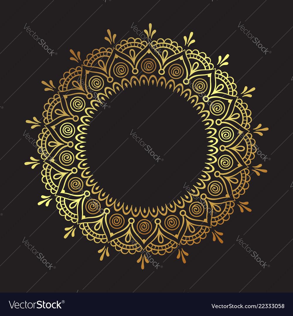Decorative indian round lace ornate gold mandala