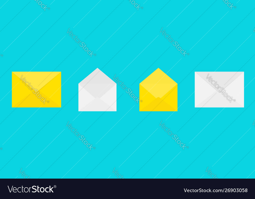 Email icon white and yellow paper envelope set