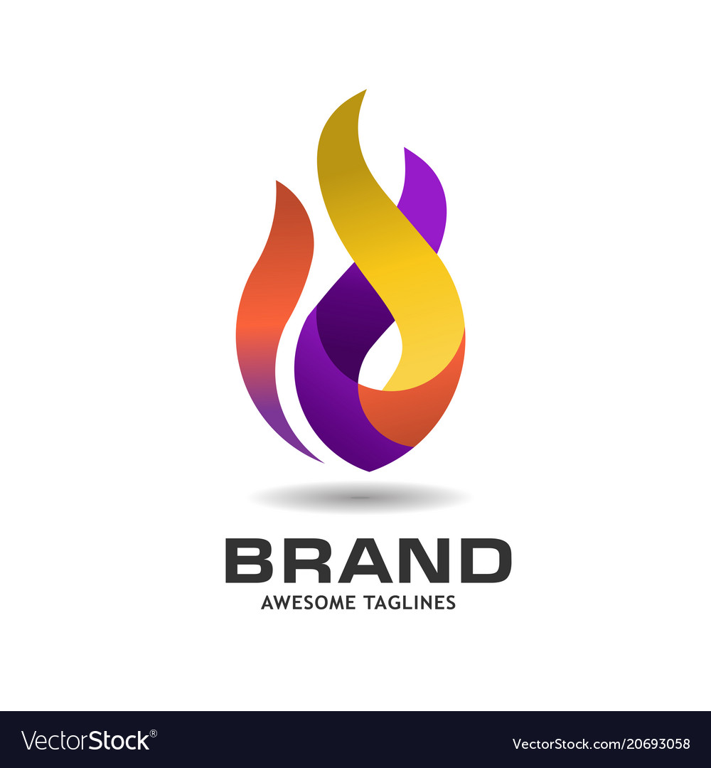 Fire flame colorful logo