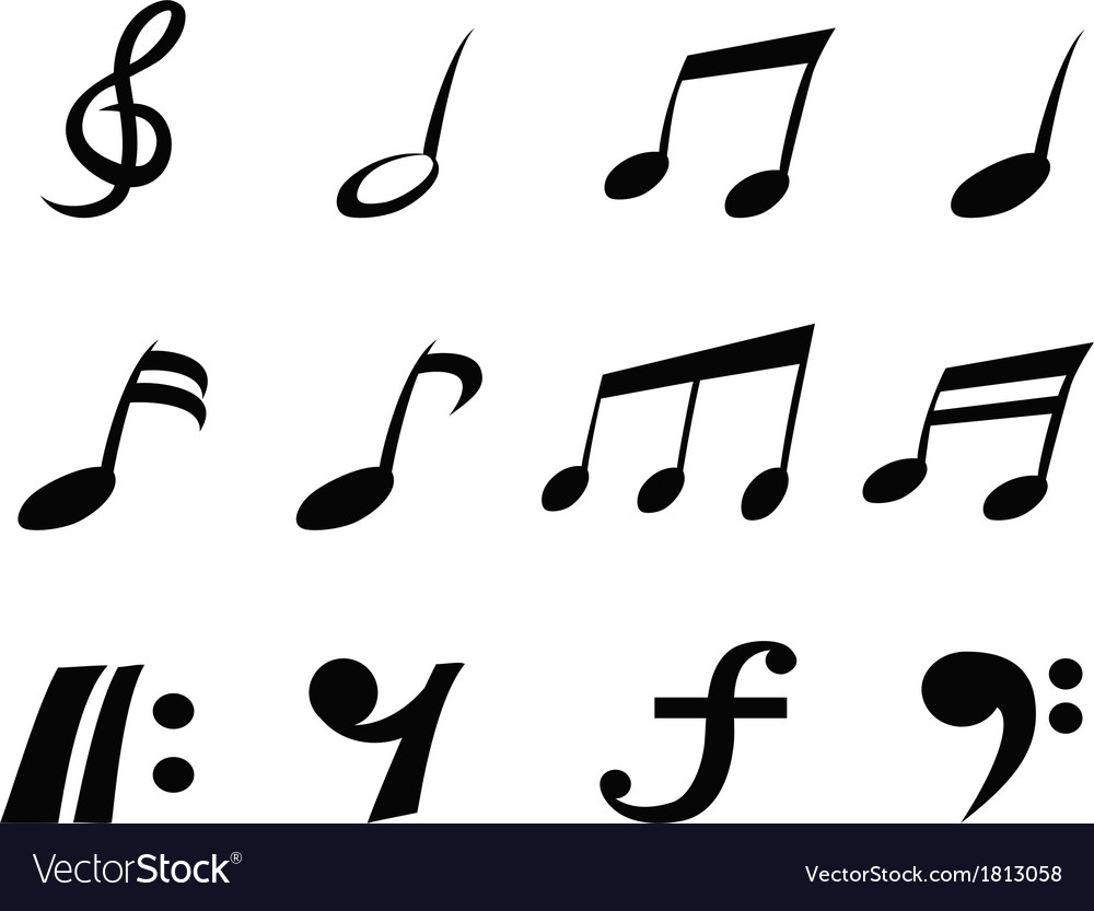 Music note icons vector image