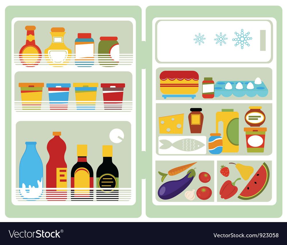 Open fridge with food vector image