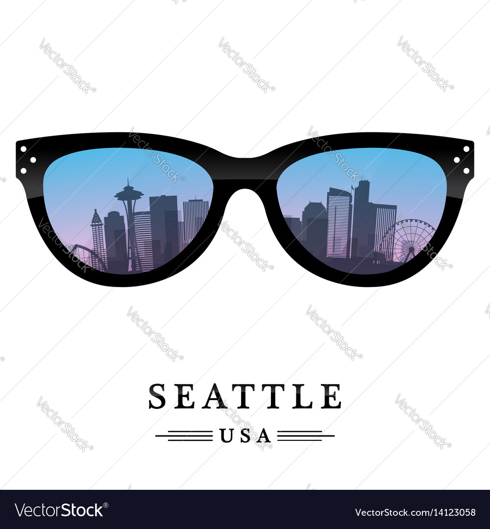 Seattle city skyline silhouette in the glasses