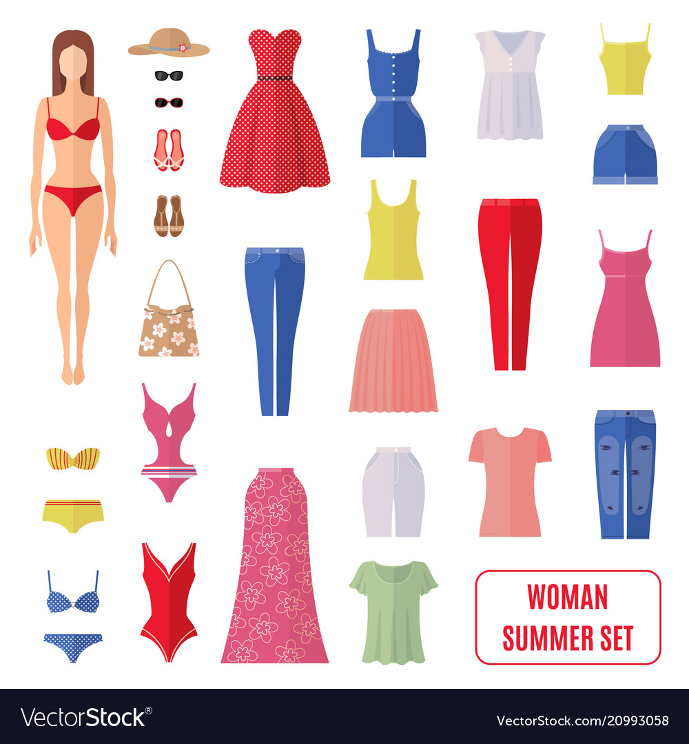 Summer set of women clothes icons in flat style