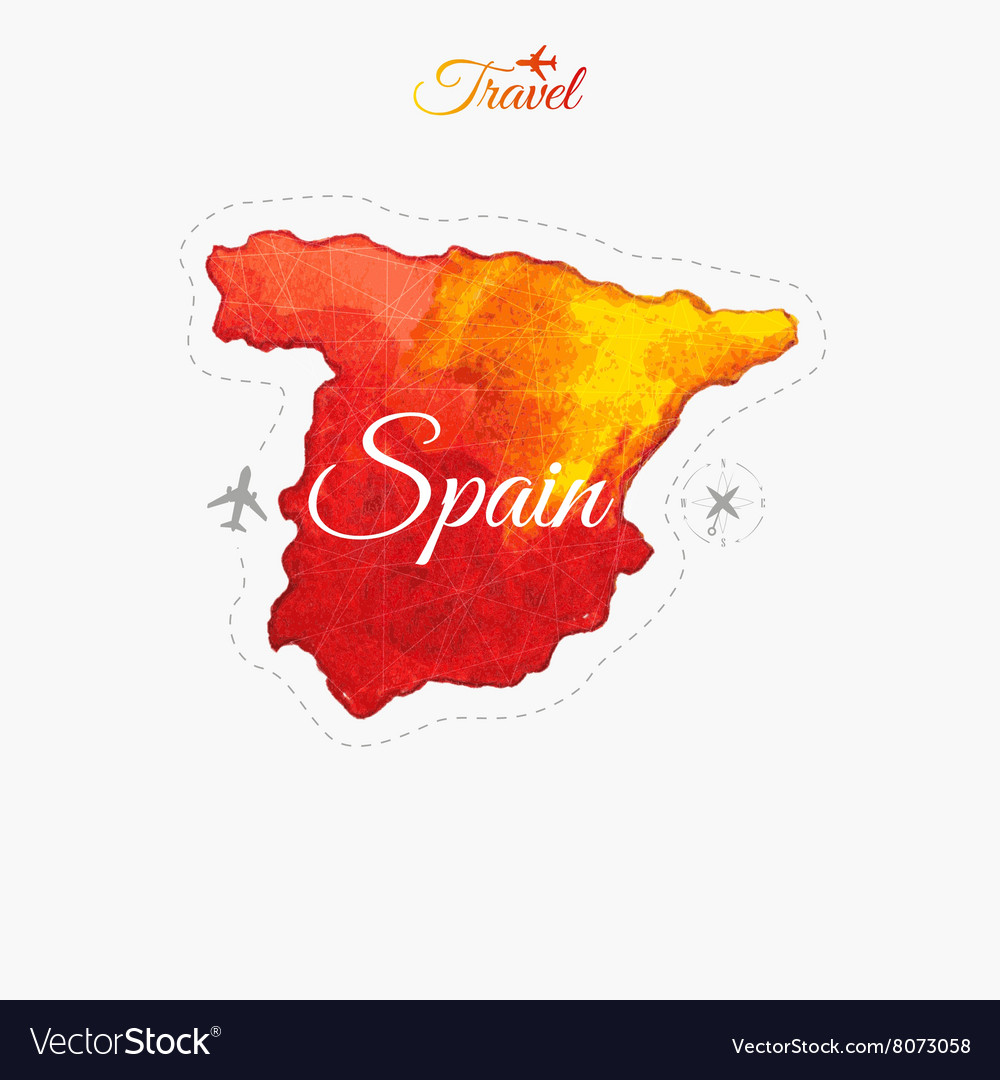 Map Of Spain In The World.Travel Around The World Spain Watercolor Map Vector Image