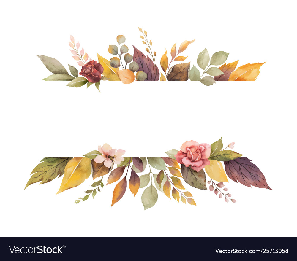 Watercolor Autumn Banner With Roses And Royalty Free Vector