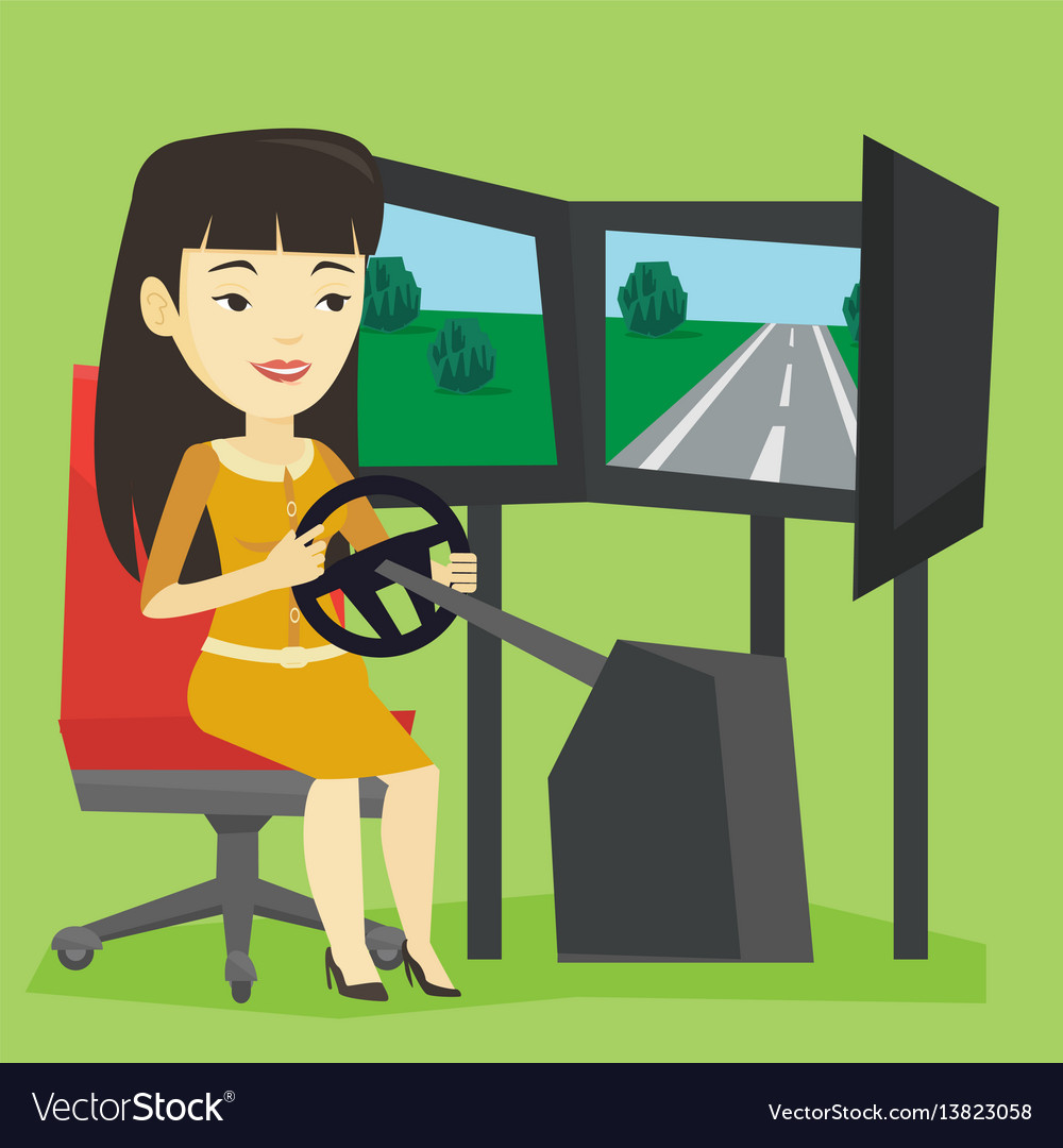 Woman playing video game with gaming wheel