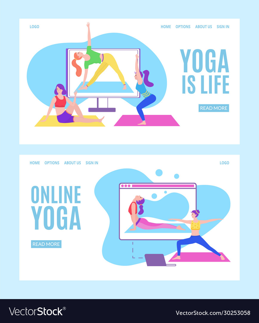 Yoga Online With Girls In Meditation Poses Doing Vector Image