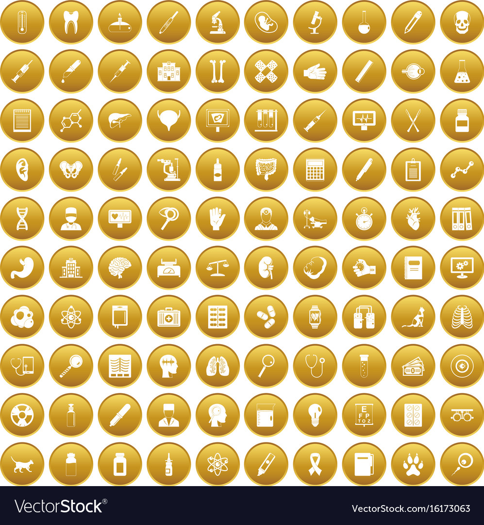100 diagnostic icons set gold