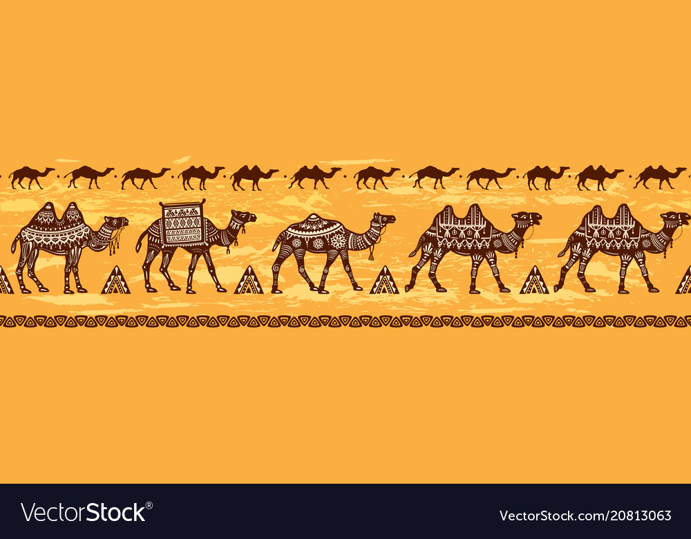 Border with camel caravan and ethnic motifs
