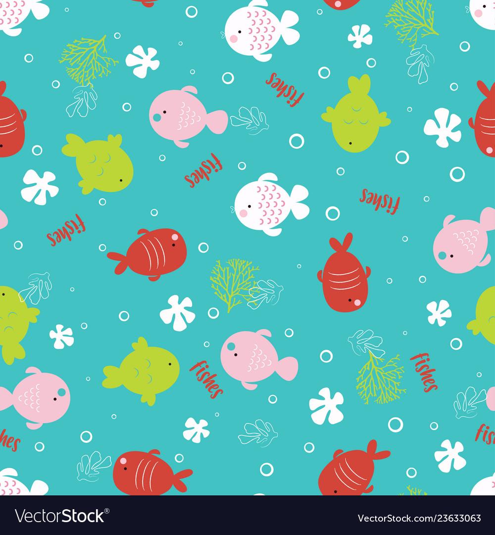 Colorful fish cartoon seamless pattern