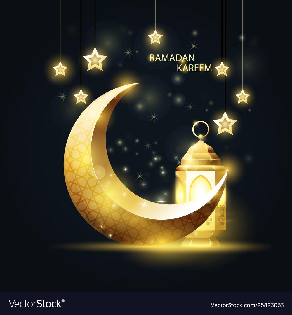 Crescent and lantern ramadan kareem islamic