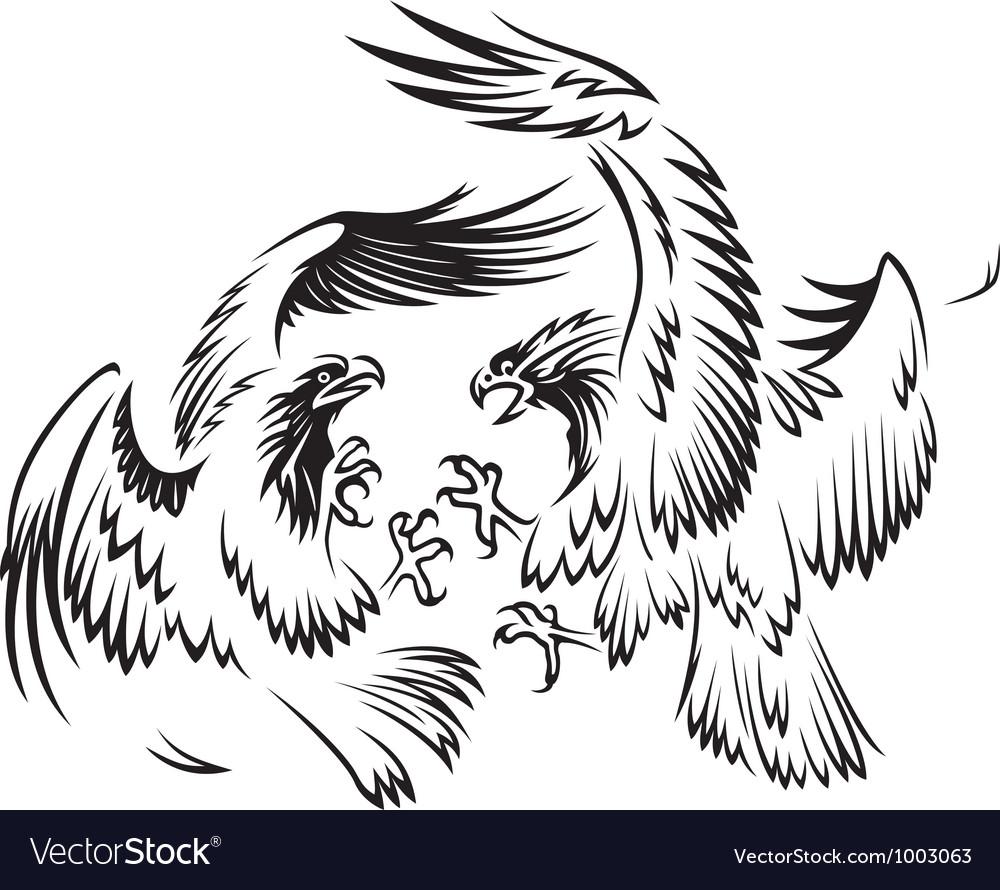 Fighting birds vector image