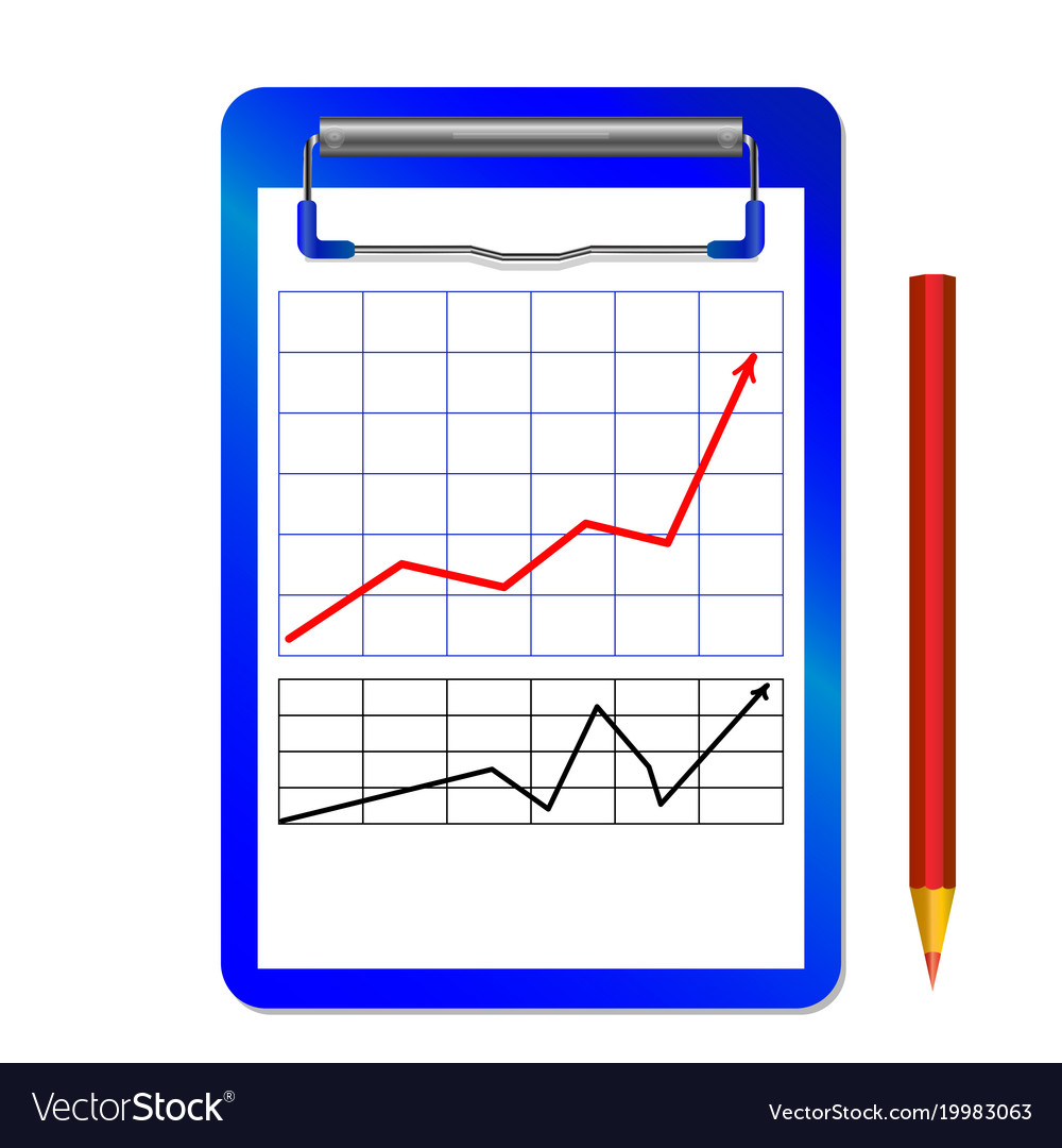 Folder with clip with graph with arrow red black