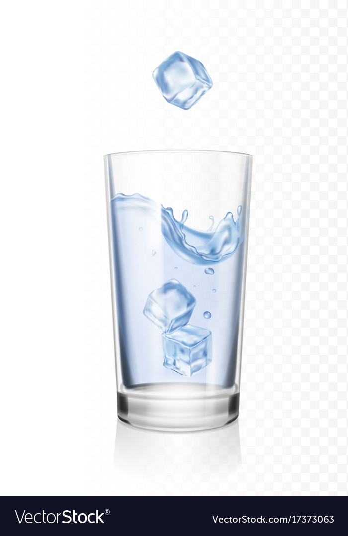 Glass Water With Ice Cubes Realistic, Glass Ice Cubes Vector
