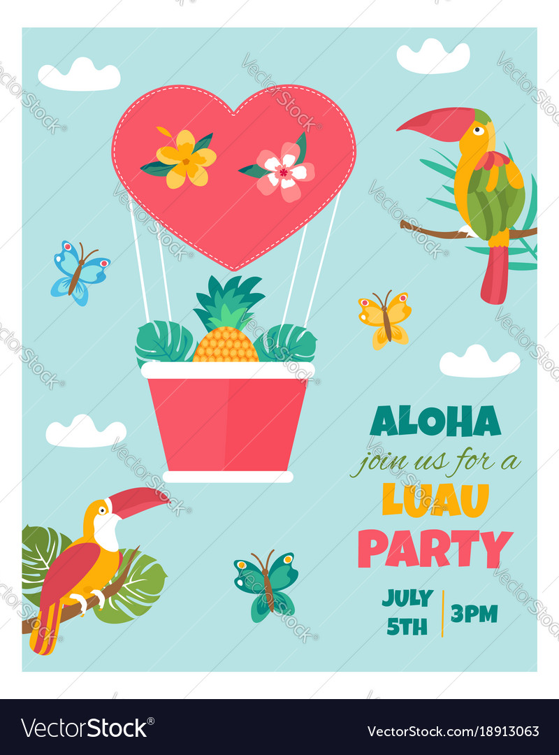 Invitation card with tropical elements birds